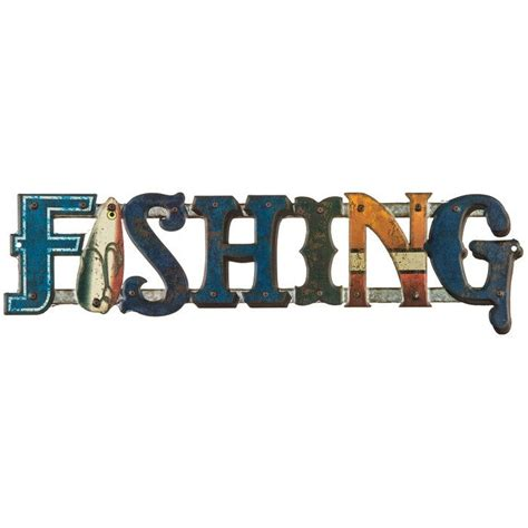 3 Letter Fishing Gear Words fishing word embossed die cut tin sign open road brands