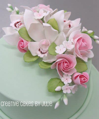 How To Make Sugar Roses For Cake Decorating by Sugar Flower Spray Cymbidium Orchids Roses Forget Me