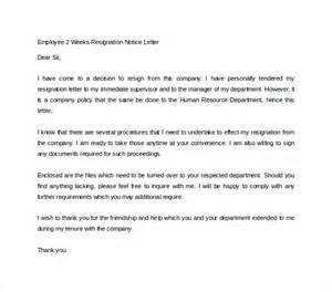 Graceful Resignation Letter by Sle Two Weeks Notice Letter 11 Free Documents In Pdf Word