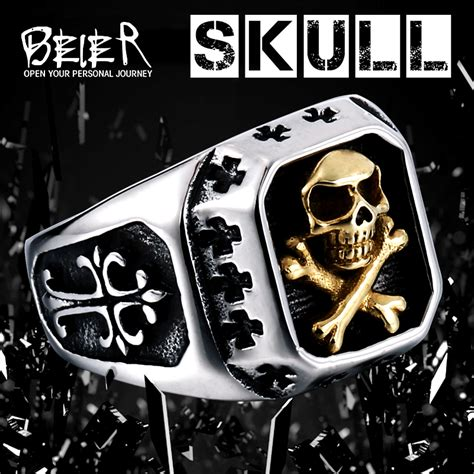 Cincin Beier Stainless Stell Domineering beier 316l stainless steel ring biker ring skull s special copper fashion jewelry br8 331 in