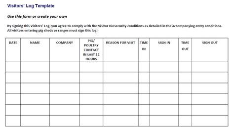 visitors book template free 13 free sle visitor log templates printable sles