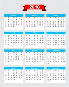 Kalender 2018 Eps 2018 Calendar Week Start Sunday Stock Vector