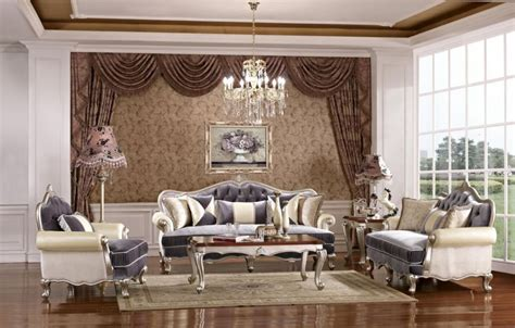clasic living room modern classic living room design with brown floral curtain and chandelier and grey