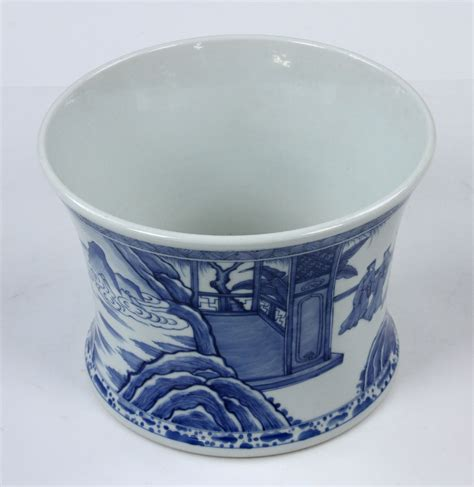 blue and white porcelain lot detail chinese blue and white porcelain brush pot