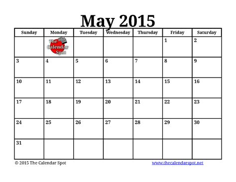 2015 calendar template pdf 5 best images of may 2015 monthly calendar printable