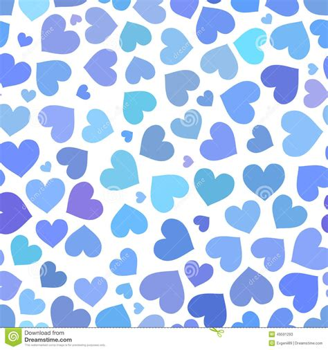 pattern blue heart blue heart seamless pattern on valentines day stock vector