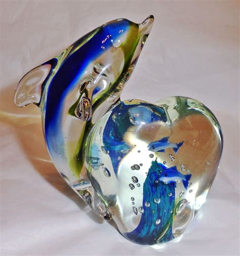 Blown Glass L Base by Blown Glass Dolphin With Base Figurine