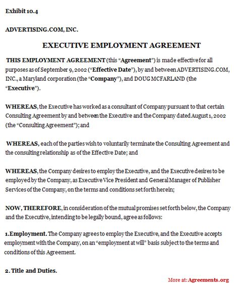 ceo employment contract template executive employment agreement sle executive