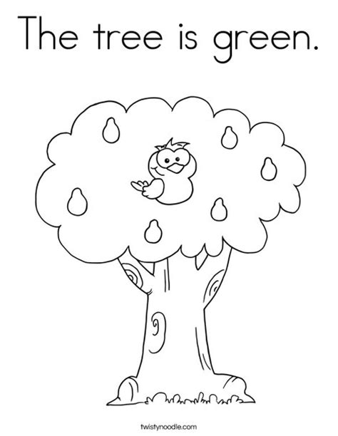 preschool coloring pages color green the tree is green coloring page twisty noodle