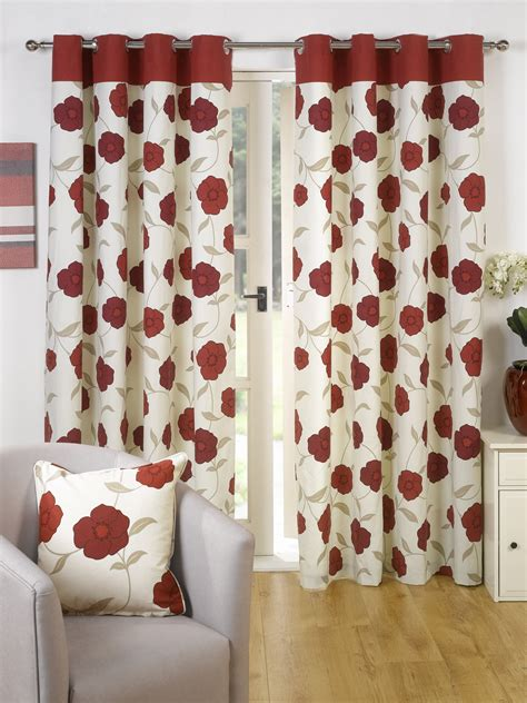 Poppy Kitchen Curtains Poppy Design Ready Made Curtains Lined Eyelet Ring Top All Sizes Ebay