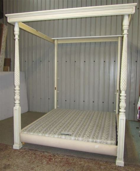 Poster Canopy Bed large heals painted mahogany double 4 poster bed