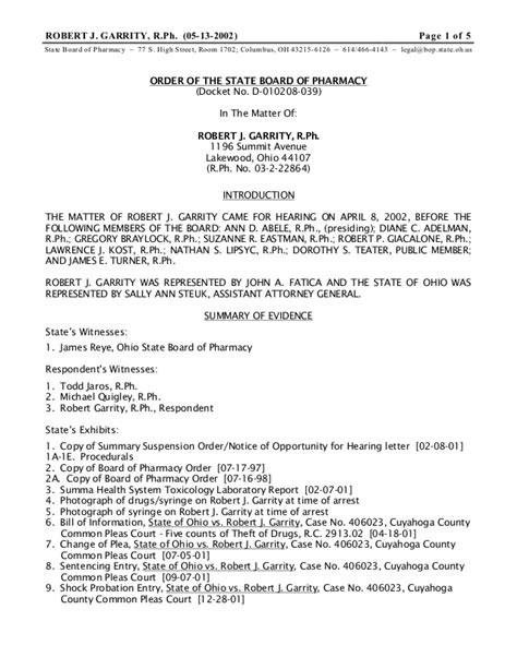 Response Letter To Board Of Pharmacy Robert Garrity Ohio Board Of Pharmacy Attorney Lawyer