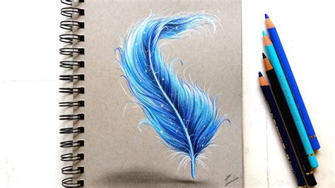 colored feathers colored pencil drawing feather leontine