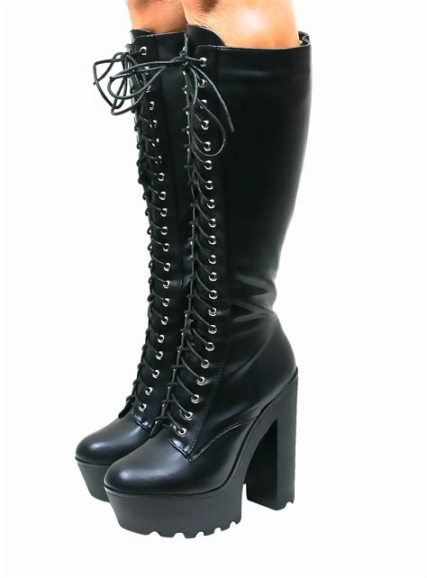 knee high lace up boots with heel block heel chunky cleated sole lace up