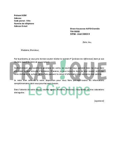 Lettre De Rã Siliation Ouest Assurance Auto Direct Assurance Resiliation Contrat Auto Adresse