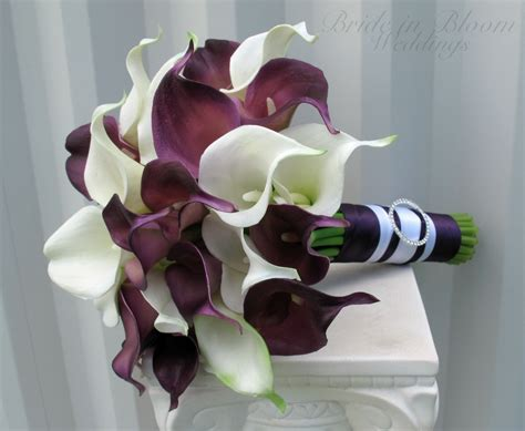 Wedding Bouquet Calla Lilies by Calla Wedding Bouquet Plum White Real Touch Wedding