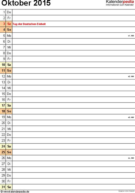 Oktober Kalender 2015 Kalender Oktober 2015 Als Pdf Vorlagen