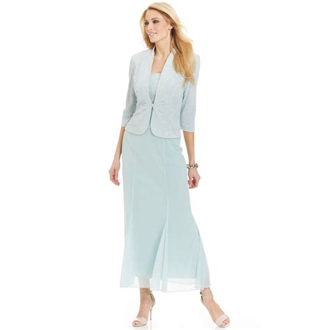 Dress Jacquard Gown 9 alex evenings sleeveless glitter jacquard gown and jacket in blue lyst
