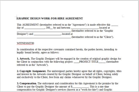 work for hire agreement template graphic design work for hire agreement