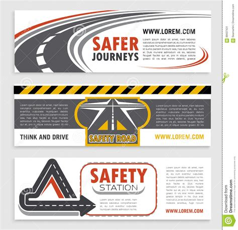 Road And Traffic Safety Banner Template Set Stock Vector Image 89437431 Safety Flyer Template