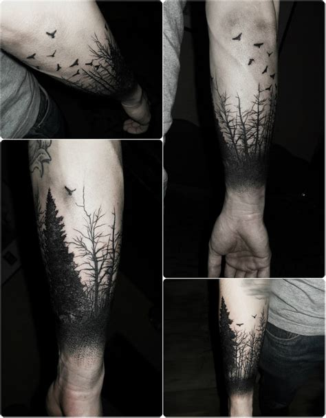 tree tattoo on arm awesome dot blackwork trees up the arm tattoos tattoos