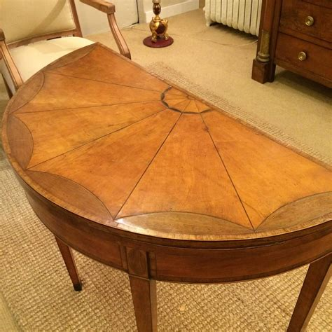game design round table antique inlaid mahogany and satinwood demilune game table