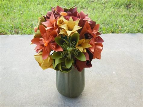 Origami Flower Arrangements - fall origami flower arrangement