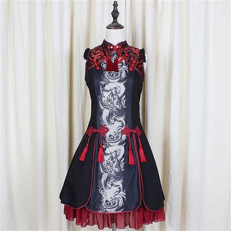 gothic wedding dresses chinese clothing chinese dress new summer retro gothic lolita woman dragon white tiger