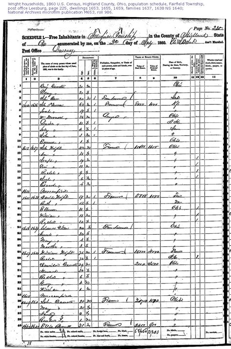 Fairfield County Ohio Marriage Records 1860 Fairfield Township Highland County Ohio