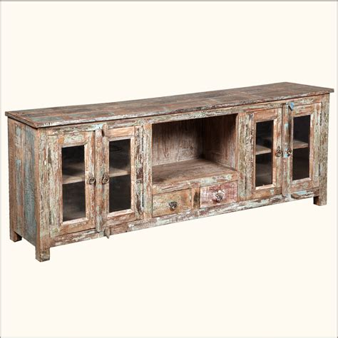 Rustic Tv Console Table Reclaimed Wood Media Console Rustic Tv Stand Appalachian Entertainment Center Ebay