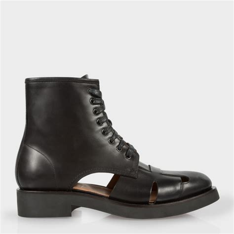 aj smith rubber sts paul smith verlaine cut out leather boots in black for