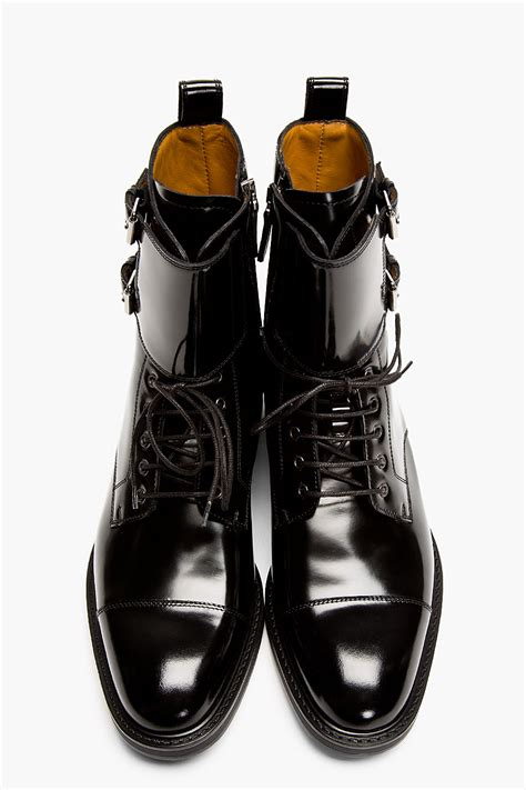 mens patent leather boots lyst valentino black patent leather buckled stud boots