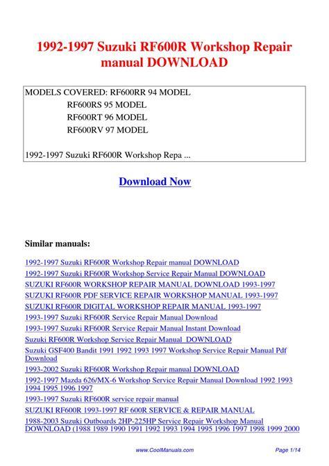 1992 1997 Suzuki Rf600r Workshop Repair Manual By Lan