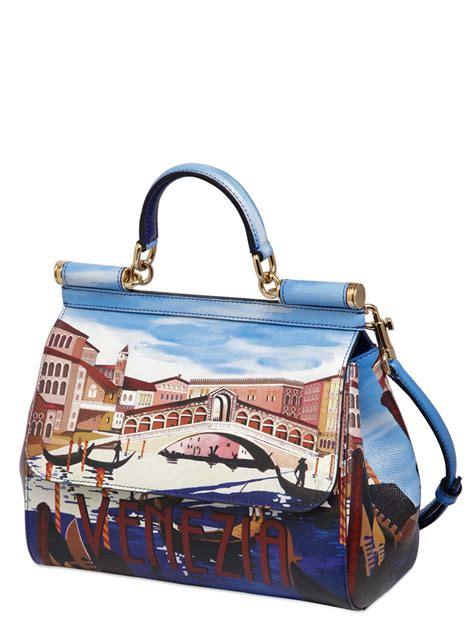 Dg Dolce And Gabbana Suzanne Satchel by Dolce Gabbana Sicily Venezia Printed Leather Bag In Blue