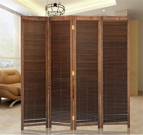 photo screen room divider japanese style 4 panel wood folding screen room divider home decor decorative portable