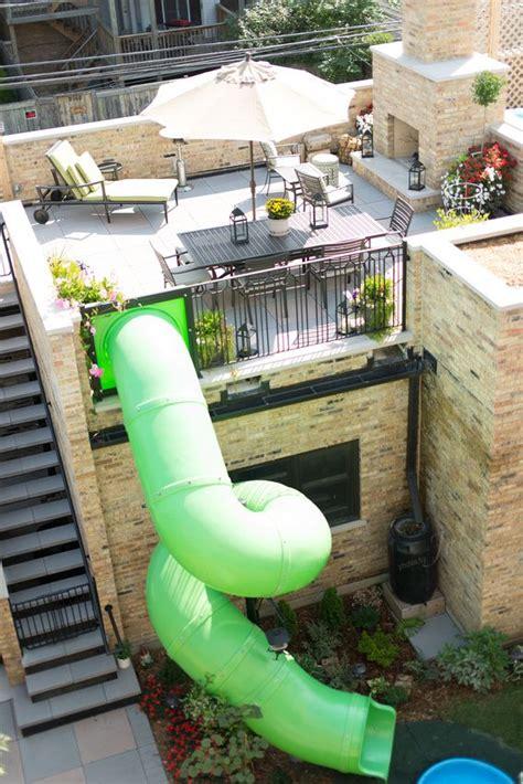 slide deck slide on the garage roof deck for my house