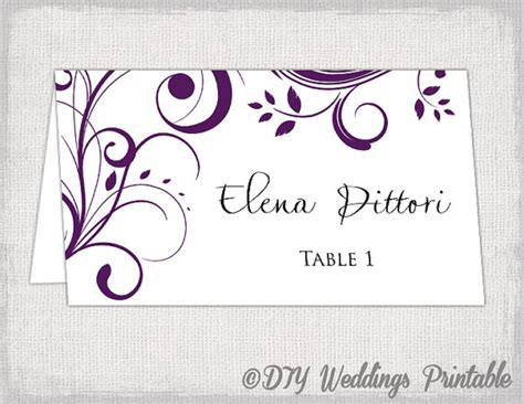 Place Card Template Eggplant Scroll Name Cards Diy Name Place Cards Template