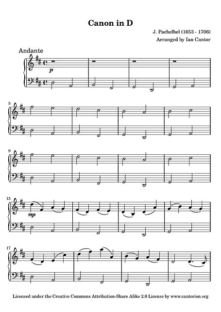 Canon in D Easy piano - Piano - Sheet music - Cantorion