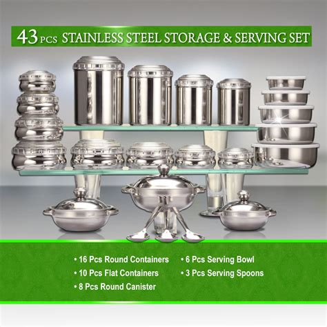 Kitchen Items Shopping India by Buy 43 Pcs Stainless Steel Storage Serving Set At
