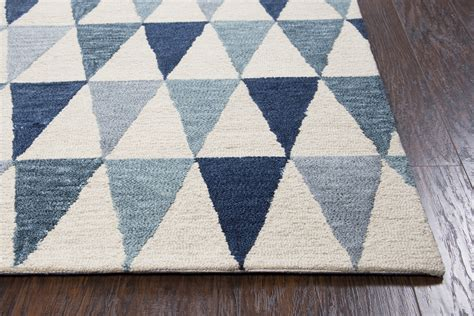 triangle pattern area rug lancaster triangular pattern wool area rug in ivory blue