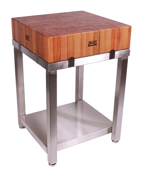 stainless steel butcher block table boos cherry cucina laforza butcher block on steel base