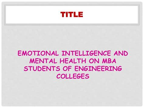 Sasurie College Of Engineering Mba Notes by Emotional Intelligence And Mental Health