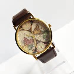 Watch With World Map by Genuine Leather Map Watch Vintage Style Leather Watch
