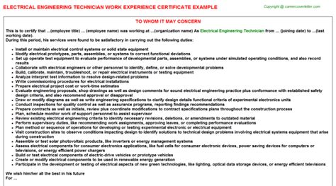 Work Experience Letter For Electrical Engineer Electrical Engineering Technician Work Experience Certificate