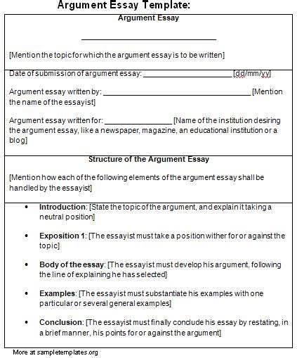 Exle For Argumentative Essay by Essay Template For Argument Template Of Argument Essay Sle Templates