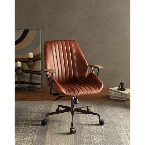 acme furniture hamilton top grain leather office chair in
