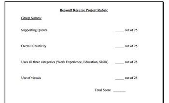 beowulf resume critical reading and writing activity