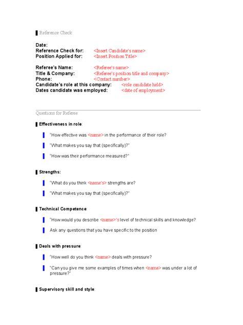 reference check template reference check template 5 free templates in pdf word
