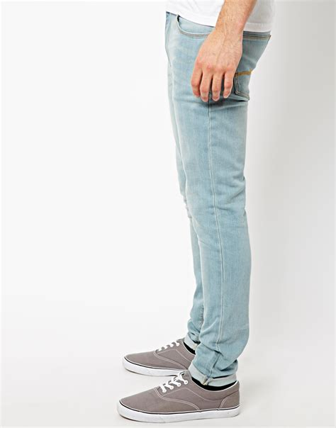 light blue wash jeans mens asos super skinny jeans in light wash in blue for men lyst