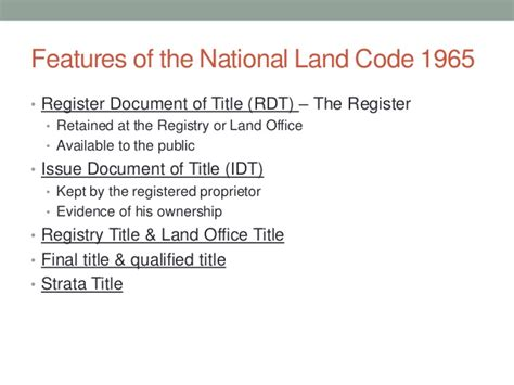 curtain principle land registration land law 1 the national land code 1965